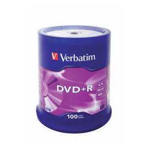 ���� ����������� ������ VERBATIM DVD+R 16x 4.7Gb (100 ��) cake box