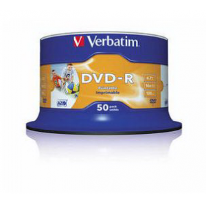 Диск однократной записи VERBATIM DVD-R 16x 4.7Gb 50шт Wide photo printable cake box