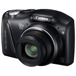 "Фотокамера Canon PowerShot SX150 IS Black {14.1MPx,12x opt/4x dig zoom,3"",SD/SDHC,USB}"