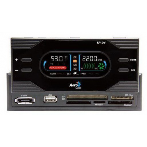 "Панель управления вентиляторами 5.25"" AeroCool FP-01 55 in 1 card reader + Car stereo style flip-up LCD screen 1xUSB, 1xe-SATA ports {EN55062}"