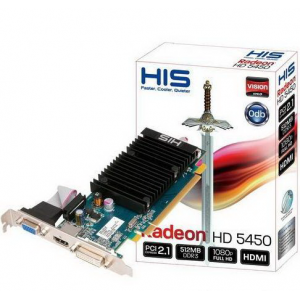 Видеокарта HIS ATI Radeon HD 5450 512Mb DDR3 32Bit DVI VGA HDMI PCI-E (H545HO512) Retail