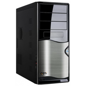 Корпус QoRi-3343 A2 (черно-серый)  (350W) USB/Audio/SATA ATX (front panel metall)