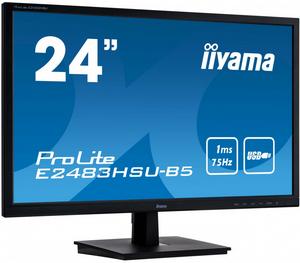 "Монитор 24"" IIYAMA E2483HSU-B5 черный {TN 1920x1080 8bit(6bit+FRC) 250cd 1000:1 170/160 1ms 75Hz D-Sub HDMI1.4 DispalyPort1.2 USB VESA AudioOut 2x1W}"